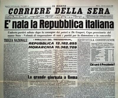 """""""E' nata la Repubblica Italiana"""" - """"Il popolo italiano ha scelto la Repubblica"""" - """"W la Repubblica, W l'Italia"""""""